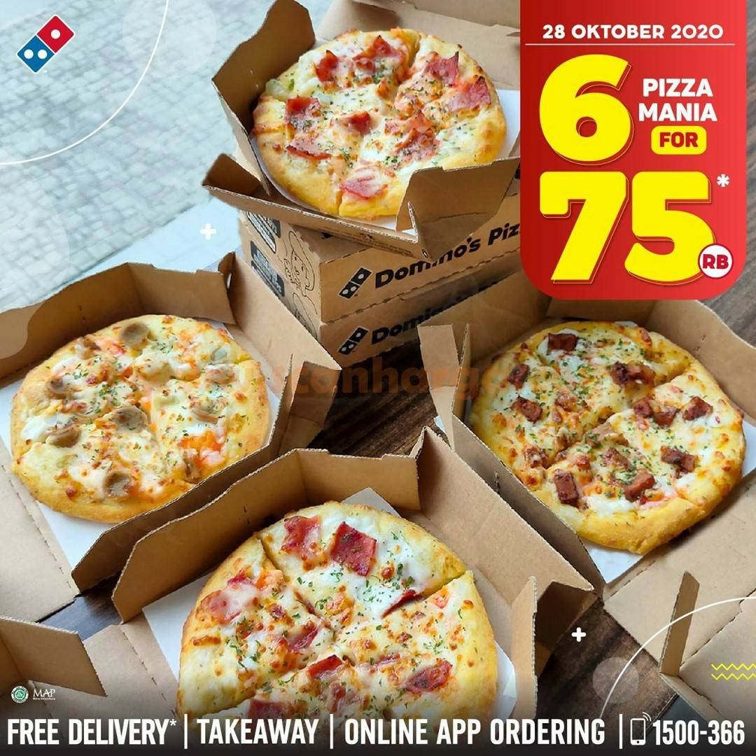 Promo Dominos Pizza cuma Rp 75.000 untuk 6 Pizza Mania