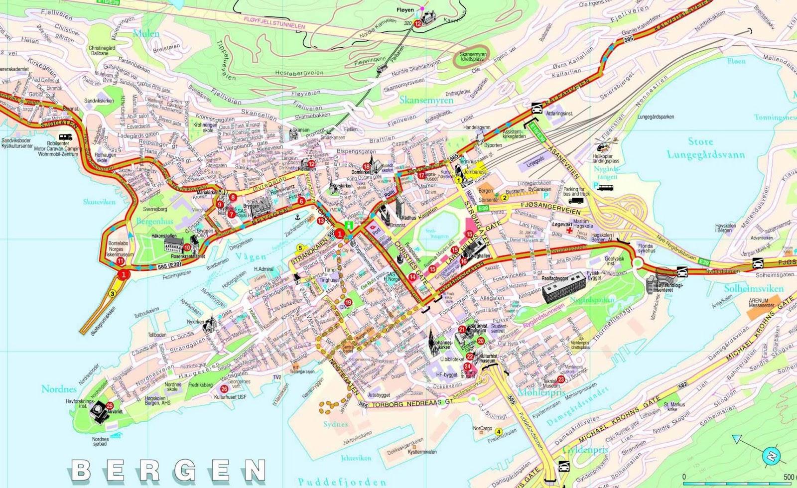 Plan Du Centre Ville De Geiranger Norvege