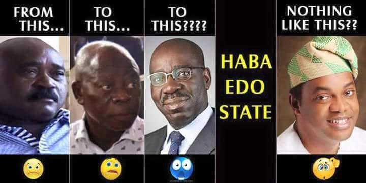 Meme of Edo State past, present and future governors goes viral