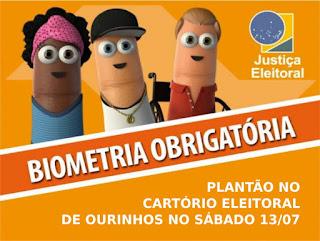 Cartório Eleitoral de Ourinhos realizará Plantão da biometria neste sábado 13/07
