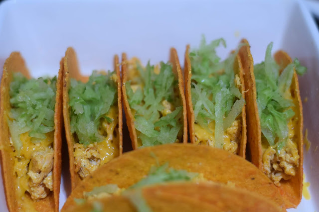 Shredded celery added to the tacos.