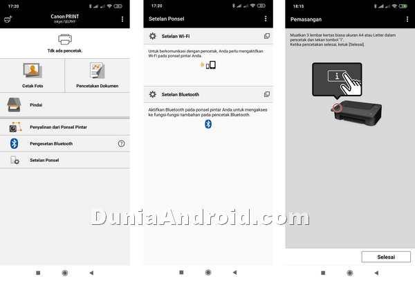 Setting Bluetooth di aplikasi Canon Print