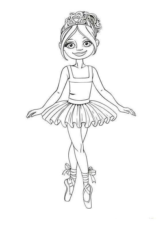 Tranh tô màu bé gái múa bale co bản