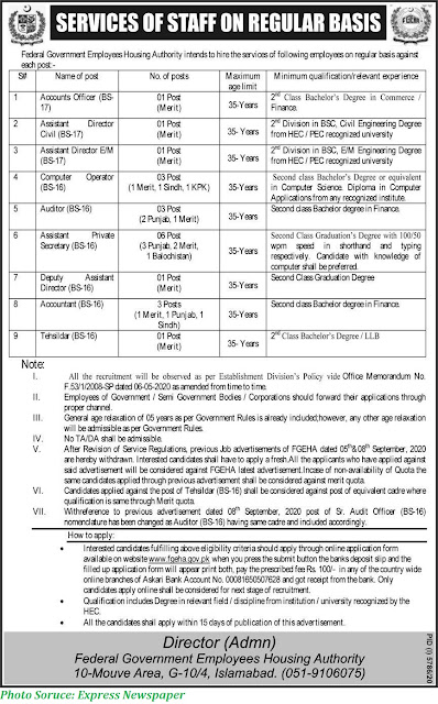 FGEHA Jobs 2021 - Federal Govt Employees Housing Authority Jobs May 2021