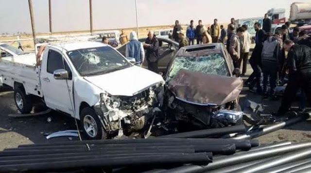 إصابة شخصين فى حادث تصادم بالصحراوي الغربي بسوهاج