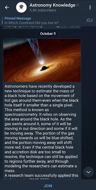 Astronomy knowledge Telegram channel
