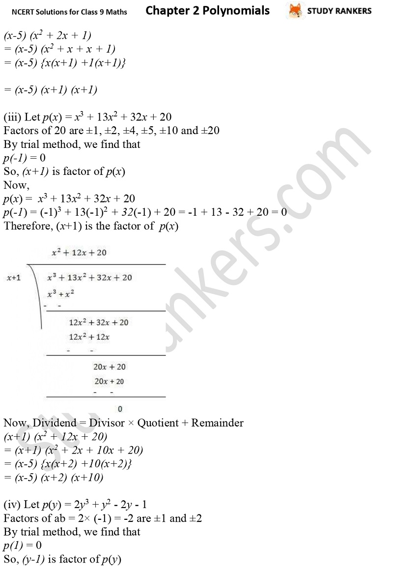 NCERT Solutions for Class 9 Maths Chapter 2 Polynomials Part 17