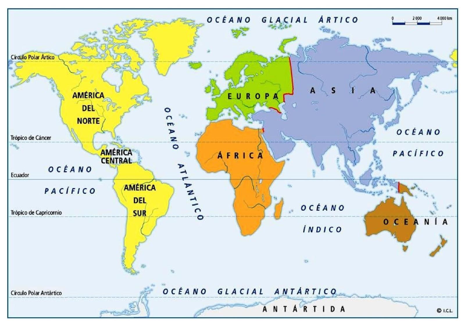 Cuales Son Los 6 Continentes Del Planisferio: La Clase De Marta: OCÉANOS Y CONTINENTES