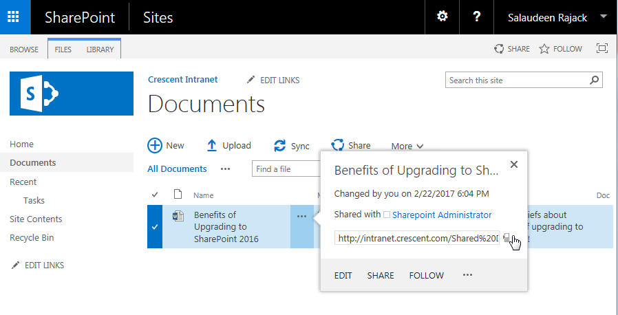 QR Code Open this link on a phone Feature in SharePoint 2016