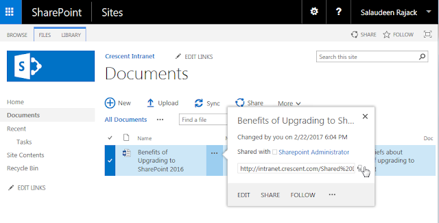Open this link on a phone Feature in SharePoint 2016