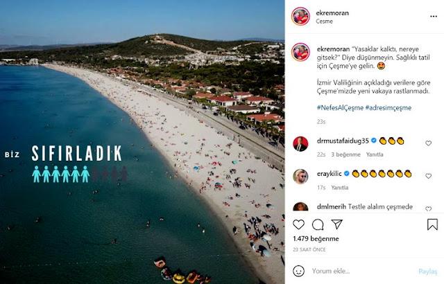 Çeşme Belediye Başkanı Ekrem Oran, dün sosyal medyada paylaştığı bir gönderiyle 'tatil planı yapsam mı yapmasam mı' ikileminde kalan vatandaşların içine su serpti.