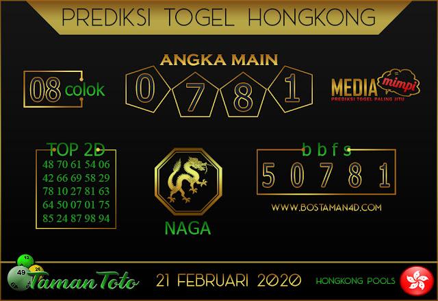 Prediksi Togel HONGKONG TAMAN TOTO 21 FEBRUARY 2020