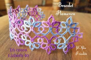 bracelet en frivolité, modèle facile et gratuit réalisé avec du coton