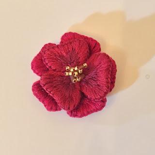 embroidery,立体刺繍,椿,tubaki,camellia