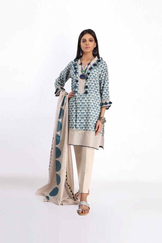 khaadi sky blue printed lawn shirt dupatta