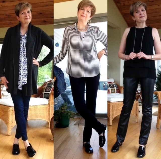 Stuart Weitzman loafers with Paige high rise skinny jeans, Tory Burch tie blouse, Vince coat sweater; Vince leggings, Theory striped silk blouse, Paige jean jacket; Holt Renfrew leather trousers, Rag and Bone silk tank