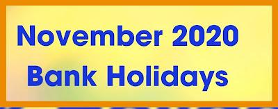 November 2020 Bank Holidays