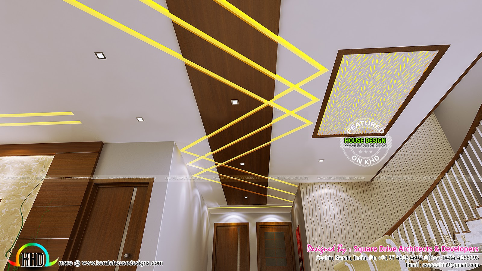 False ceiling bedroom and dining interiors kerala home for Ceiling interior designs