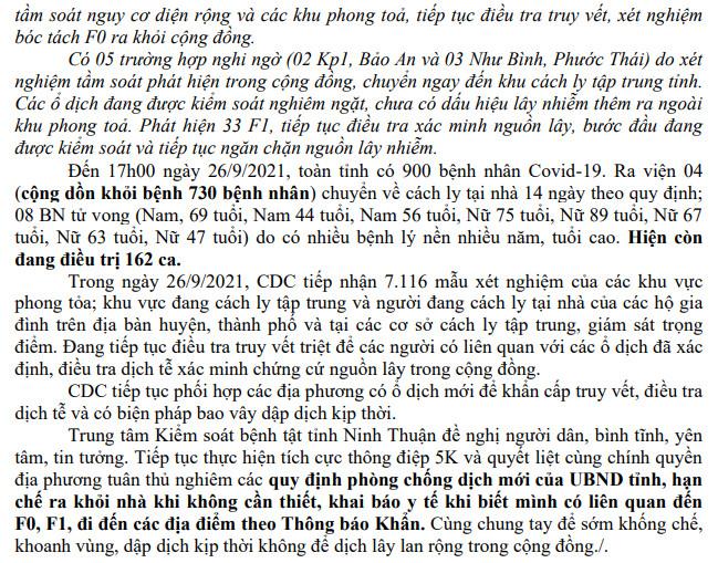 Ngày 26-9 Ninh Thuận ghi nhận ca mắc Covid-19 mới trên địa bàn tỉnh