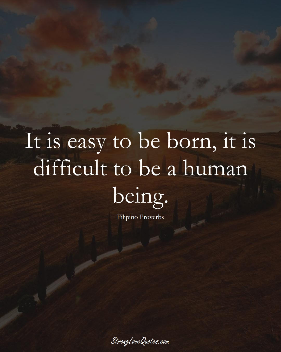 It is easy to be born, it is difficult to be a human being. (Filipino Sayings);  #AsianSayings