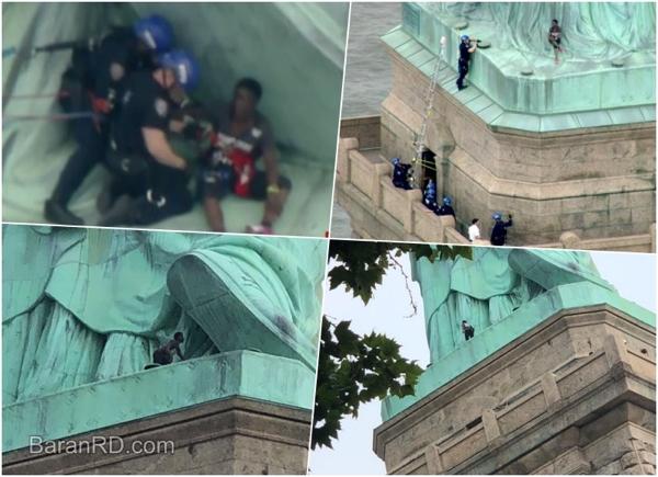 Apresan mujer que trepó la Estatua de la Libertad