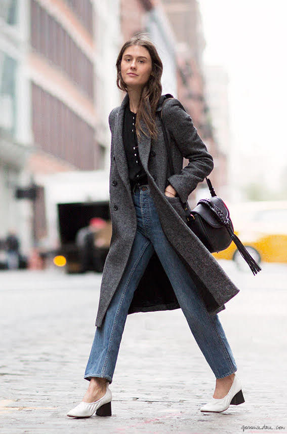 A Polished Fall Uniform to Try Now: Gray Coat, Black Top, Straight-Leg Jeans, and White Heels