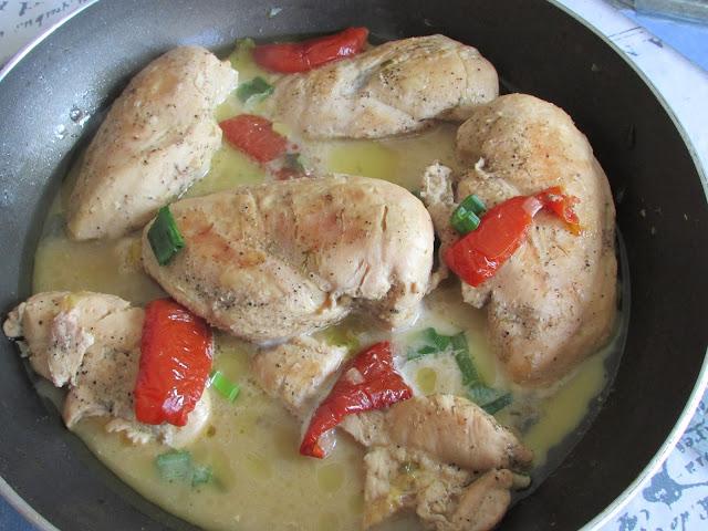 Pierś z kurczaka z zieloną cebulką i suszonymi pomidorami
