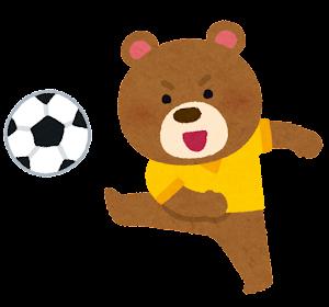 サッカーをやる動物のキャラクター(クマ)