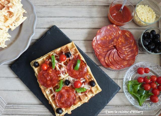 Gaufres façon pizza au chorizo et cheddar