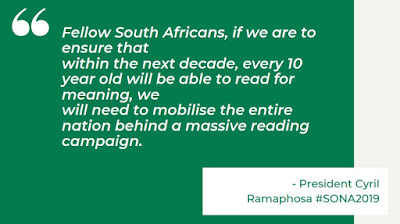 print screen of Cyril Ramaphosa reading quote - SONA2019