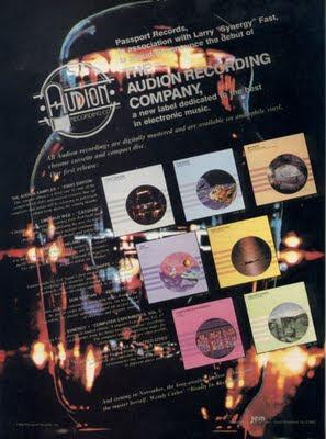 Publicidad de los primeros álbumes publicados por el sello Audion en 1986