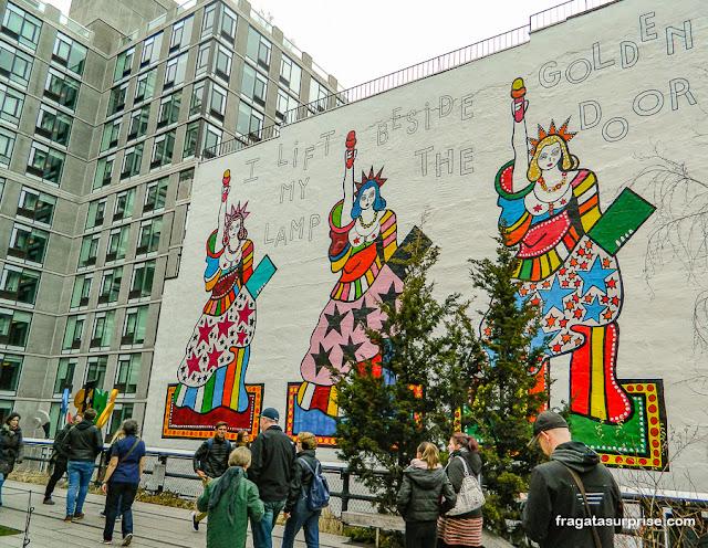 Grafite no parque High Line, Nova York