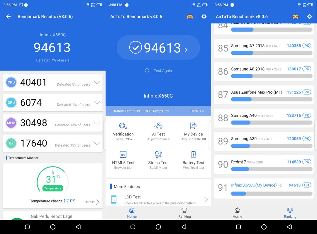Benchmark AnTuTu v8.0.6 Infinix Hot 8