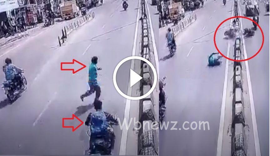 சாலையை பார்க்காமல் கடந்த நபர்… அதிவேகமாக மோதிய பைக்..! பதைபதைக்கும் CCTV காட்சி