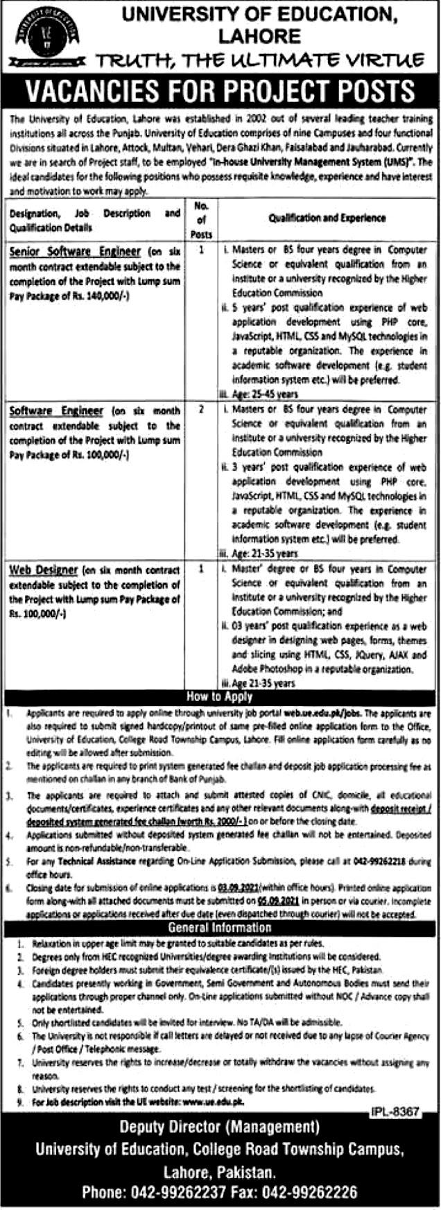 Latest Vacancy in University  of Lahore EU 2021 -Apply Online