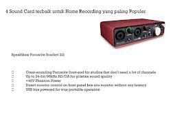 4 Sound Card terbaik untuk Home Recording yang paling Populer