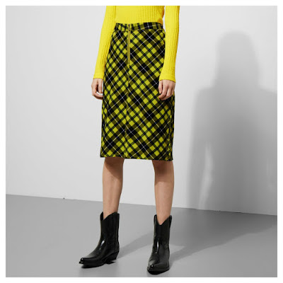 Weekday yellow and black plaid pencil skirt