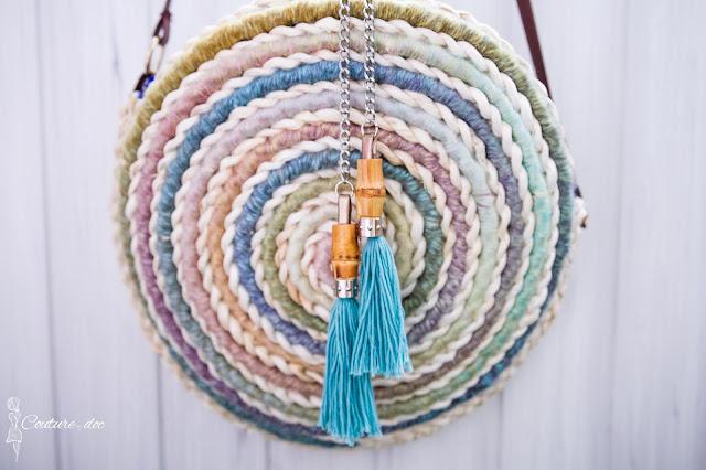 torba, okrągła, handmade, koszyk, pleciona, trawa morska