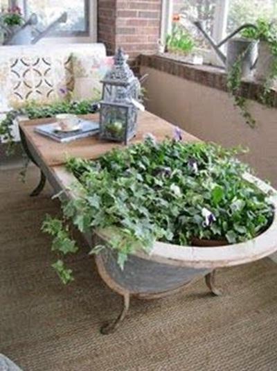 Bak mandi bekas dimanfaatkan sebagai pot tanaman sekaligus meja