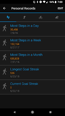 A screenshot of my walking streak  starting at 0 on Garmin's app.