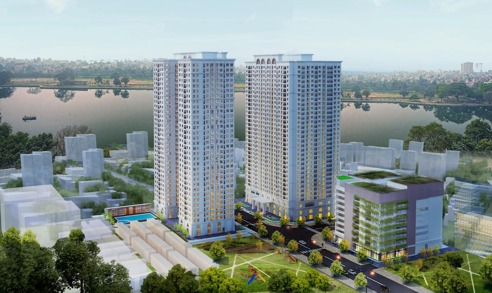Phối cảnh dự án Eco Lake View với 2 toà căn hộ cao 32 tầng
