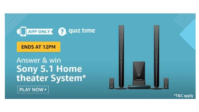 Amazon Quiz Answers For Today 5th June 2020 - Win Sony 5.1 Home theater System