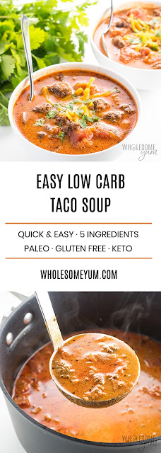 EASY LOW CARB TACO SOUP RECIPE WITH RANCH DRESSING - 5 INGREDIENTS