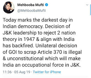 Mehbooba mufti tweet on removing 370 from kashmir