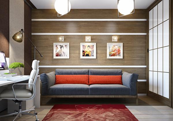 Desain Ruang Tamu dengan Dinding Kayu
