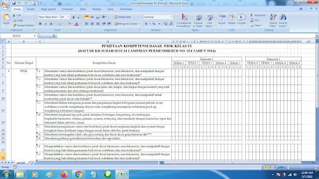 Contoh Format Terbaru Pemetaan KD Kelas 6 Mapel PJOK SD K13