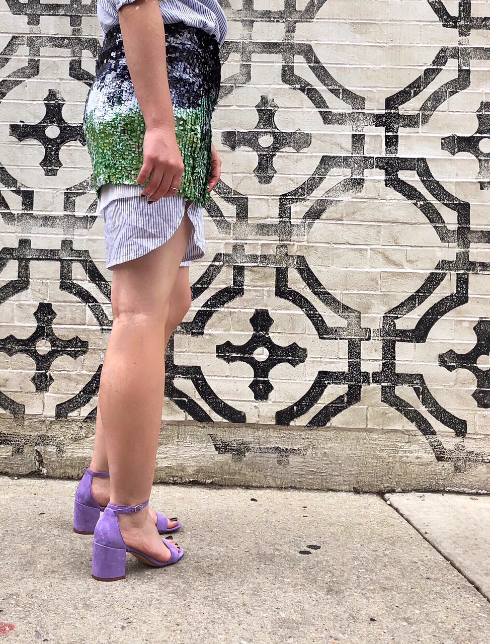 Purple sandals and a sequin mini skirt