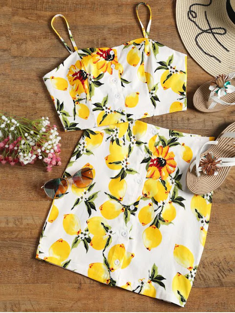 Button Up Lemon Top And Bodycon Skirt Set