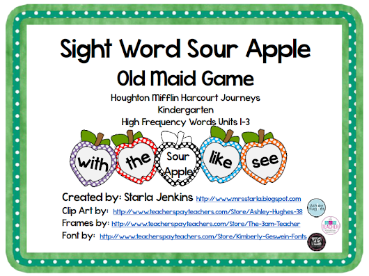 Sight Word Sour Apple Game on TPT