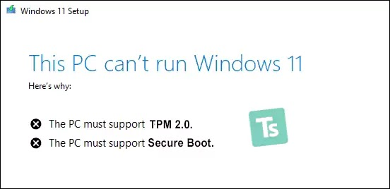 This PC must support tpm 2.0 & secure boot